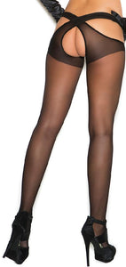 Criss Cross Sheer Black Pantyhose Close Back Image