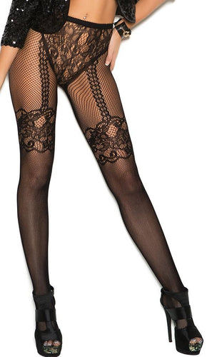 Black Fishnet and Lace Pattern Lingerie Stockings