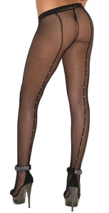Plus Size Black Fishnet Pantyhose with Rhinestone Back Seam Close Image