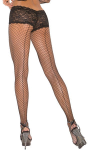 Black Fence Net Pantyhose with Back Seam and Panty Close Back Image