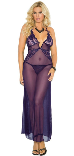 Plus Size Sheer Purple Mesh Lingerie Gown Front View