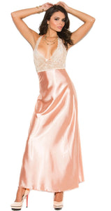 Stunning Peach Pink Satin and Lace Lingerie Gown Front Image