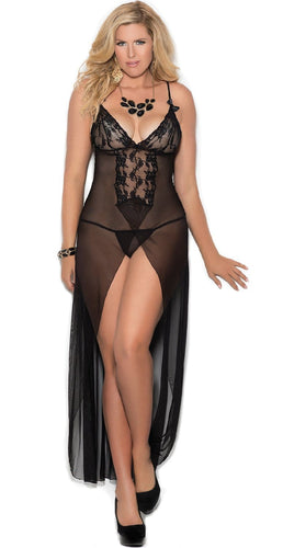 Black Mesh and Lace Plus Size Lingerie Gown For Women Front Image