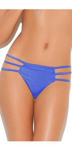 Women's Blue Triple Strap Sexy Lingerie Thong Front Image