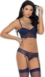 Midnight Blue Crochet Bra and Panties Lingerie Set