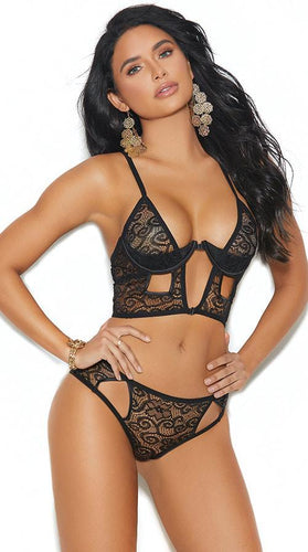 Women's Black Lace Demi Cup Bra and Panty Set Front Image