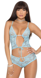 Women's Sexy Blue Lace and Mesh Cami and Panties Set Front Image
