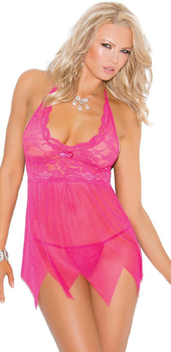 Lace and Mesh Raspberry Pink Women's Babydoll Front Image