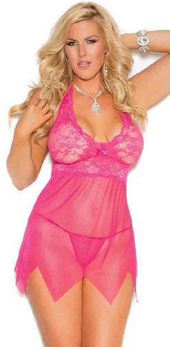 Raspberry Pink Plus Size Women's Lace and Mesh Babydoll Close Image