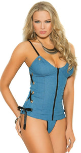 Plus Size Denim Bustier and Thong Set Front Image