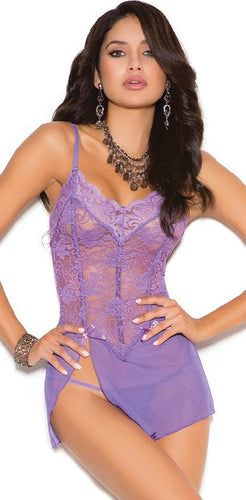 Sexy Lilac Purple Lace and Mesh Boned Babydoll Close Image