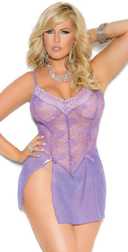 Lilac Purple Plus Size Women's Lace Babydoll Close Image