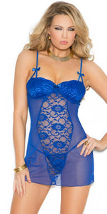 Royal Blue Lace and Mesh Sexy Babydoll Set for Women Close Image