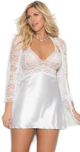 Plus Size White Satin and Lace Babydoll and Coat Set Close Front View