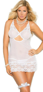 Plus Size White Mesh Bridal Babydoll and Leg Garter Set Front View