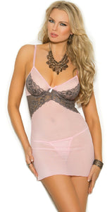 Sexy Pale Pink Mesh and Grey Lace Women's Babydoll Front View