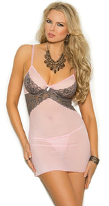 Light Pink Mesh and Grey Lace Plus Size Babydoll Front View