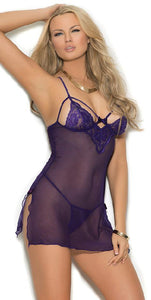 Purple Lace and Mesh Women's Babydoll Set Main Image