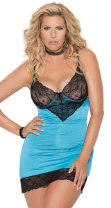 Women's Sexy Plus Size Blue Lycra and Black Lace Chemise Set - Front Image