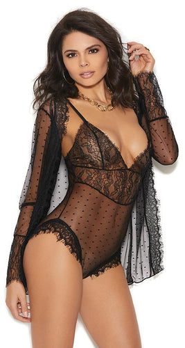 Black Mesh Teddy and Coat Women's Lingerie Set Front Image