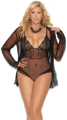 Plus Size Black Dot Mesh Teddy and Coat Set Front Image