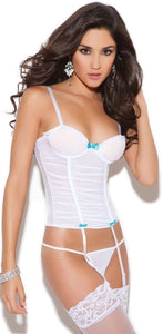 Gathered White Mesh Sexy Women's Bustier Lingerie Front Image