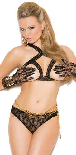 Black Lace Open Cup Criss Cross Bra and Panty Lingerie Set Front View