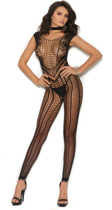 Crochet Net Footless Black Open Crotch Bodystocking