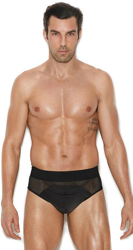 Black Mesh and Lycra Men's Jock Strap Front Image