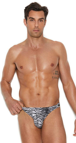 Men's Side Snap Zebra Print Thong Front Image