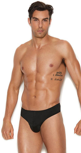 Thong Back Men's Black Lycra Briefs Front Image