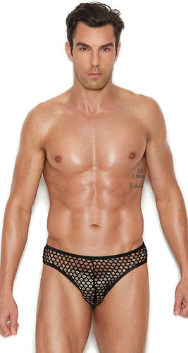 Men's Sexy Black Fishnet Thong Back Briefs Front Image