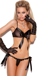 Sheer Black Mesh and Satin Bra and Panties with Bows Front Image