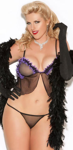Ruffled Purple and Black Mesh Plus Size Cami Lingerie Set Front Image