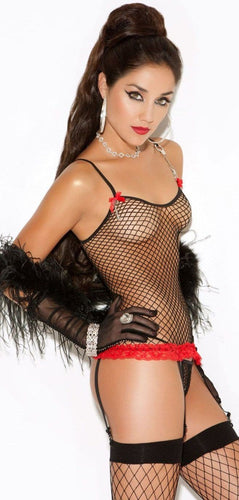 Black Fence Net Women's Cami and Stockings Set