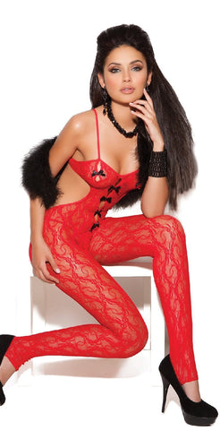 Women's Red Lace Bodystocking with Black Bows Front Image