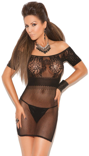 Women's Sexy Black Fishnet Short Sleeve Lingerie Dress Front Image