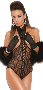 Sexy lace Up Front Women's Black Lace Teddy Front Image