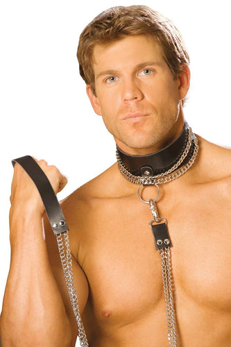 Kinky Black Leather Collar with Silver Chain Leash