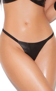 Black Leather G-String For Women Close Image