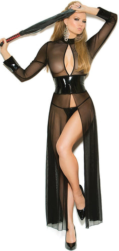Sexy Bondage Women's Black Vinyl And Mesh Lingerie Gown Main Image
