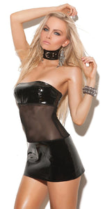 Black Vinyl and Mesh Women's Kinky Lingerie Dress Front Image