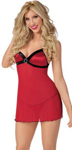 Red Babydoll Valentines Lingerie with Black Trim Main Image