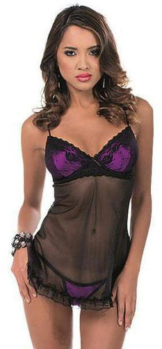 Black Babydoll Lingerie with Purple Satin Bust