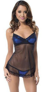 Black Babydoll Lingerie with Blue Satin Bust Main Image