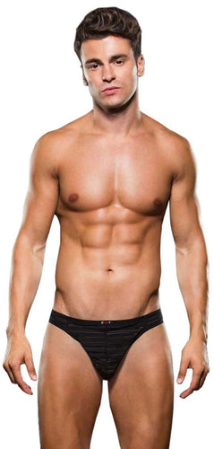 Sexy Mesh and Microfibre Striped Men's Thong Front Image