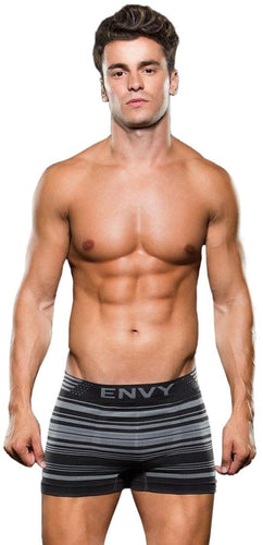 Grey Striped Seamless Fabric Men's Sexy Trunks Front Image