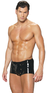 Men's Black Vinyl Removable Pouch Underwear Main Image