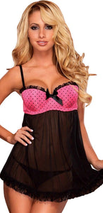 Pink Polka Dot Women's Sexy Babydoll Lingerie Front Image