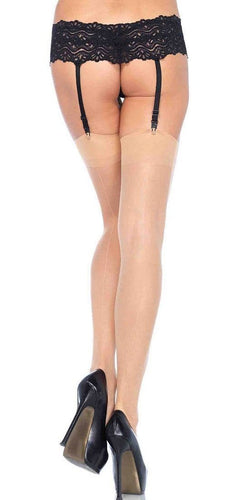 Sexy Nude Thigh Highs with Plain Top and Back Seam Main Image